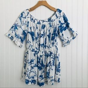 LF Rumor Boutique Romper Blue and White Floral